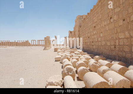 Ruins of the Temple of Bel in the ancient city of Palmyra, Tadmur, Palmyra District, Homs Governorate, Syria - Stock Photo