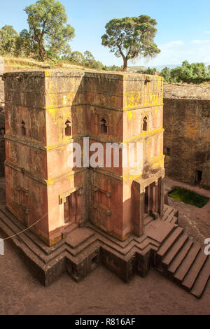 Monolithic rock-cut Church of Bete Giyorgis, Saint George, UNESCO World Heritage Site, Lalibela, Amhara Region, Ethiopia - Stock Photo