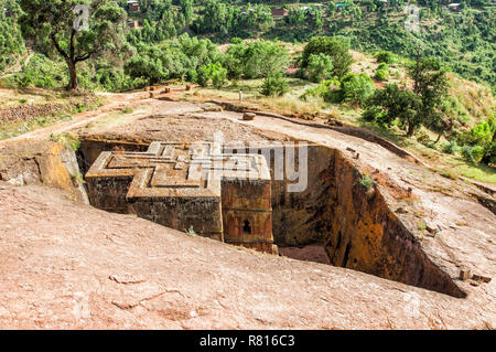 Monolithic rock-cut Church of Bete Giyorgis or Saint George, Unesco World Heritage Site, Lalibela, Amhara Region, Ethiopia - Stock Photo