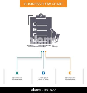 checklist, check, expertise, list, clipboard Business Flow Chart Design with 3 Steps. Glyph Icon For Presentation Background Template Place for text. - Stock Photo