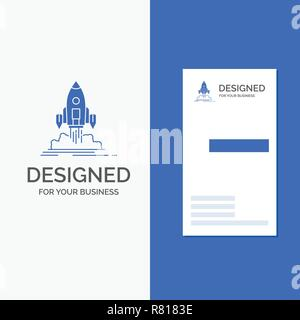 Business Logo for Launch, mission, shuttle, startup, publish. Vertical Blue Business / Visiting Card template. - Stock Photo
