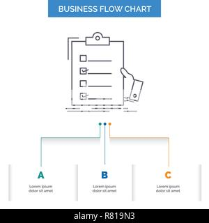 checklist, check, expertise, list, clipboard Business Flow Chart Design with 3 Steps. Line Icon For Presentation Background Template Place for text - Stock Photo