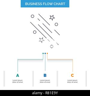 star, shooting star, falling, space, stars Business Flow Chart Design with 3 Steps. Line Icon For Presentation Background Template Place for text - Stock Photo