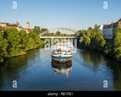 View from the Chain Bridge in Bamberg - Stock Photo