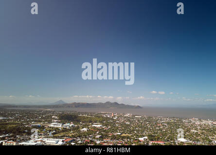 Managua town landscape with lake  aerial drone view - Stock Photo
