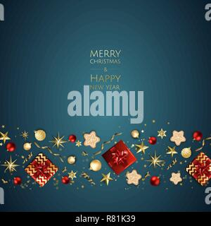 Merry Christmas and Happy New Year. Xmas background with gift box, Snowflakes and balls design. - Stock Photo