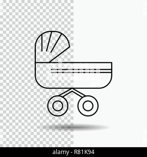trolly, baby, kids, push, stroller Line Icon on Transparent Background. Black Icon Vector Illustration - Stock Photo