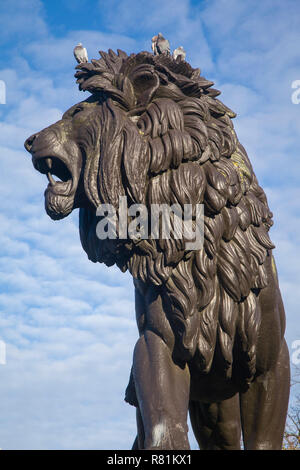 The Forbury or Maiwand Lion in Forbury Gardens, Reading, Berkshire - Stock Photo