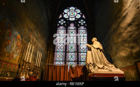 Paris, France - Oct 2, 2018. Interior of Notre-Dame de Paris. Cathedral is one of the finest examples of French Gothic architecture. - Stock Photo