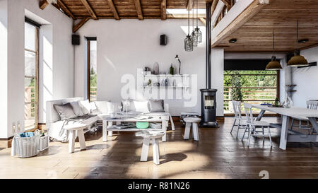 A brightly lit, stylish and modern open-plan living and dining area with timber ceiling. 3d Rendering - Stock Photo