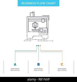 3d, dimensional, machine, printer, printing Business Flow Chart Design with 3 Steps. Line Icon For Presentation Background Template Place for text - Stock Photo