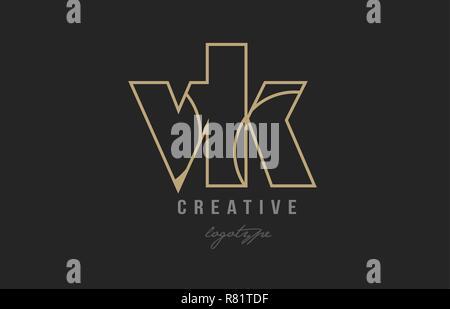 gold alphabet letter vk v k logo combination design suitable