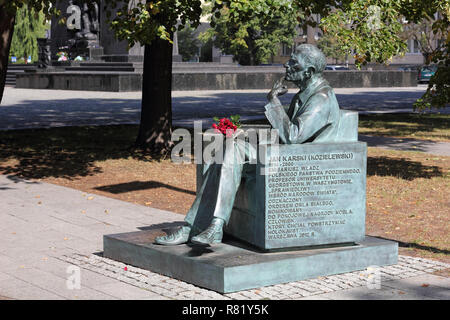 Monument to the Polish AK officer Jan Karski in Warsaw - Stock Photo