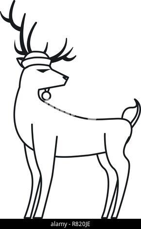animal reindeer using hat on white background vector illustration - Stock Photo