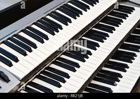part of synthesizer keyboard closeup - Stock Photo