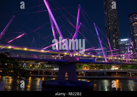 Kurilpa Bridge at night, Brisbane, Queensland, Australia - Stock Photo