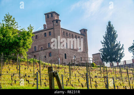 The castle of Grinzane Cavour, Piedmont, Italy - Stock Photo