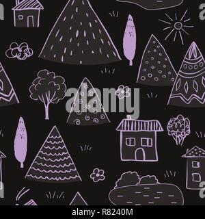 Country landscape seamless pattern. Hand drawn doodle mountains, cute houses and tree. Vector background. - Stock Photo