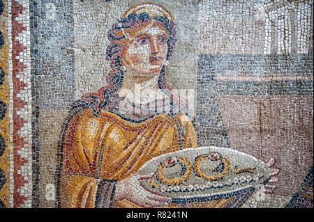 Mosaic of the Chresis from Daphne or Harbiye, 4th cent. A.C., Hatay Archaeology Museum, Antakya, Hatay Province, Turkey - Stock Photo