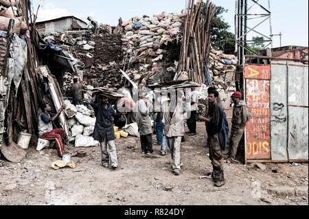Metals trade, market street scene, Mercato of Addis Ababa, Addis Ababa, Oromia Region, Ethiopia - Stock Photo