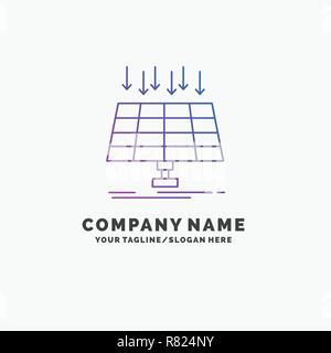 Solar, Panel, Energy, technology, smart city Purple Business Logo Template. Place for Tagline - Stock Photo
