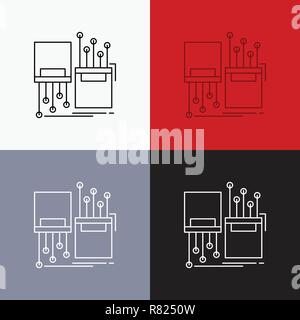 digital, fiber, electronic, lane, cable Icon Over Various Background. Line style design, designed for web and app. Eps 10 vector illustration - Stock Photo