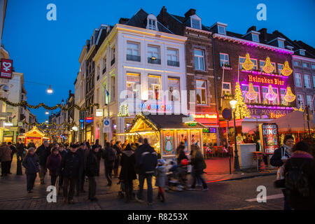 Shopping street, pedestrian area, Grote Straat, pubs on Vrijthof Square, Maastricht, Limburg, The Netherlands - Stock Photo