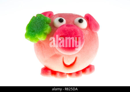 Pink marzipan pig, lucky charm for New Year - Stock Photo
