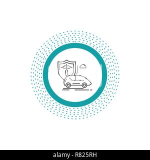 car, hand, insurance, transport, safety Line Icon. Vector isolated illustration - Stock Photo