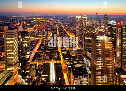 City view at dusk, seen from Main Tower, Frankfurt am Main, Hesse, Germany - Stock Photo