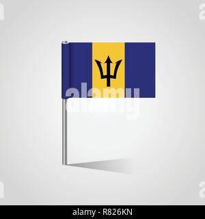 Barbados Flag Map Pin - Stock Photo