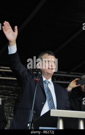 Ukip leader Gerard Batten addresses  leave voters, at Ukip's Brexit Means Exit rally in London. - Stock Photo