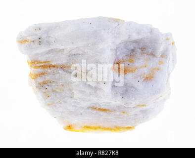 macro photography of natural mineral from geological collection - rough barite (baryte) ore on white background - Stock Photo