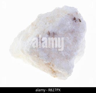 macro photography of natural mineral from geological collection - piece of rough anhydrite stone on white background - Stock Photo