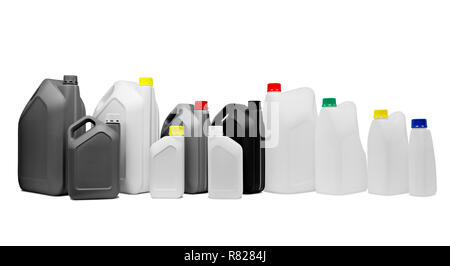 Many plastic multicolored jerrycan canisters in a row isolated on white background for web banner - Stock Photo