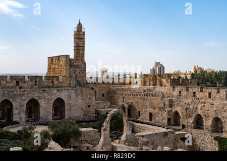 Panoramic view of David's tower at spring time in old city of Jerusalem, Israel. - Stock Photo