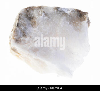 macro photography of natural mineral from geological collection - raw Anhydrite stone on white background - Stock Photo