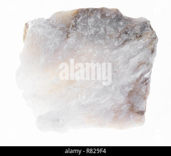macro photography of natural mineral from geological collection - rough Anhydrite stone on white background - Stock Photo