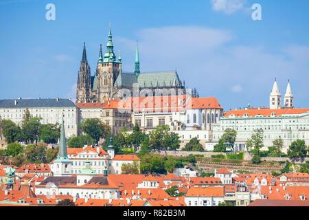 Prague castle Prague Czech Republic Prague skyline with Prague castle and st vitus cathedral Mala Strana district Prague Czech Republic Europe - Stock Photo