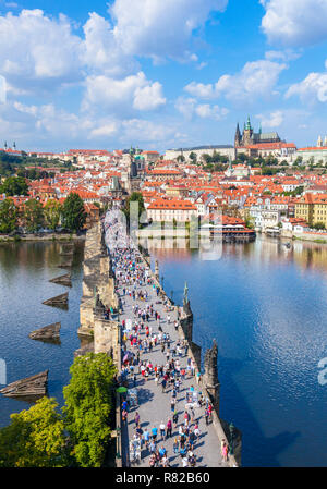 Prague Charles Bridge Prague over the Vltava River with Prague Castle and St Vitus's Cathedral Mala Strana Prague Czech Republic Europe - Stock Photo