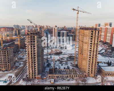 construction of apartment buildings, aerial view. winter.