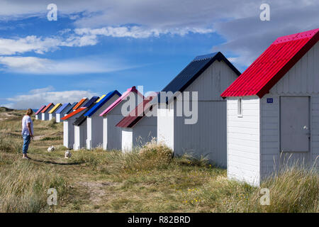 Woman walking with two dogs along row of colourful beach cabins in the dunes at Gouville-sur-Mer, Lower Normandy, France - Stock Photo