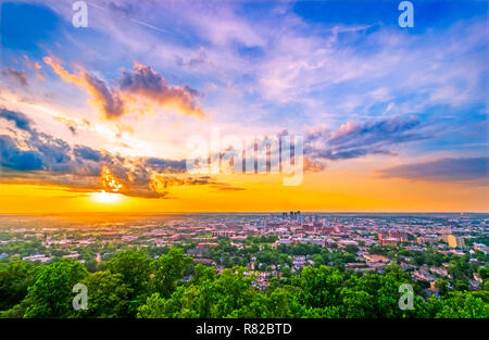 The sun sets at Vulcan Park, July 19, 2015, in Birmingham, Alabama. The park features an iron statue of the Roman God, Vulcan, with an observation dec - Stock Photo