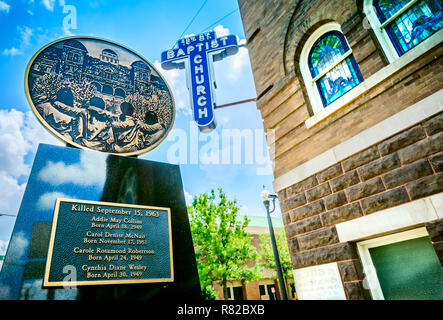 A monument commemorates the 1963 bombing of 16th St. Baptist Church and the deaths of four children, July 12, 2015, in Birmingham, Alabama. - Stock Photo
