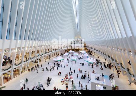 New York, USA - November 26, 2018 : The Oculus, Interior of the white World Trade Center station in Lower Manhattan - Stock Photo