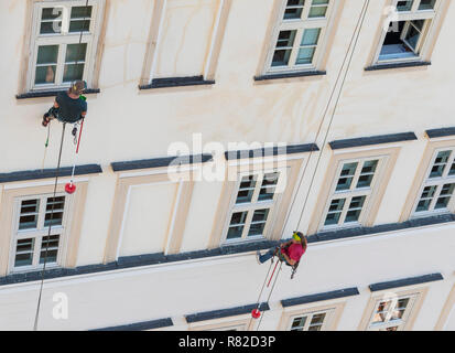 high rise window cleaners abseiling window cleaners working abseiling window cleaning - Stock Photo