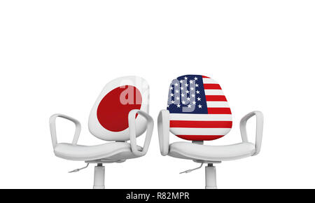 Japan and USA business chairs. Internationl relationship concept. 3D Rendering - Stock Photo