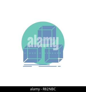 Arrange, design, stack, 3d, box Glyph Icon. - Stock Photo