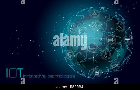 Planet Earth Asia continent internet of things icon innovation technology concept. Wireless communication network IOT ICT. Intelligent system automation modern AI computer online vector illustration - Stock Photo