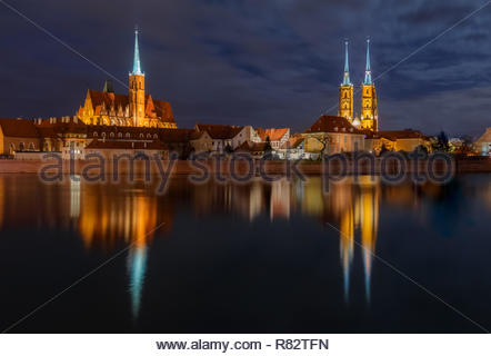 A cityscape of Wroclaw and Cathedral of St. John, Poland in a summer night - Stock Photo